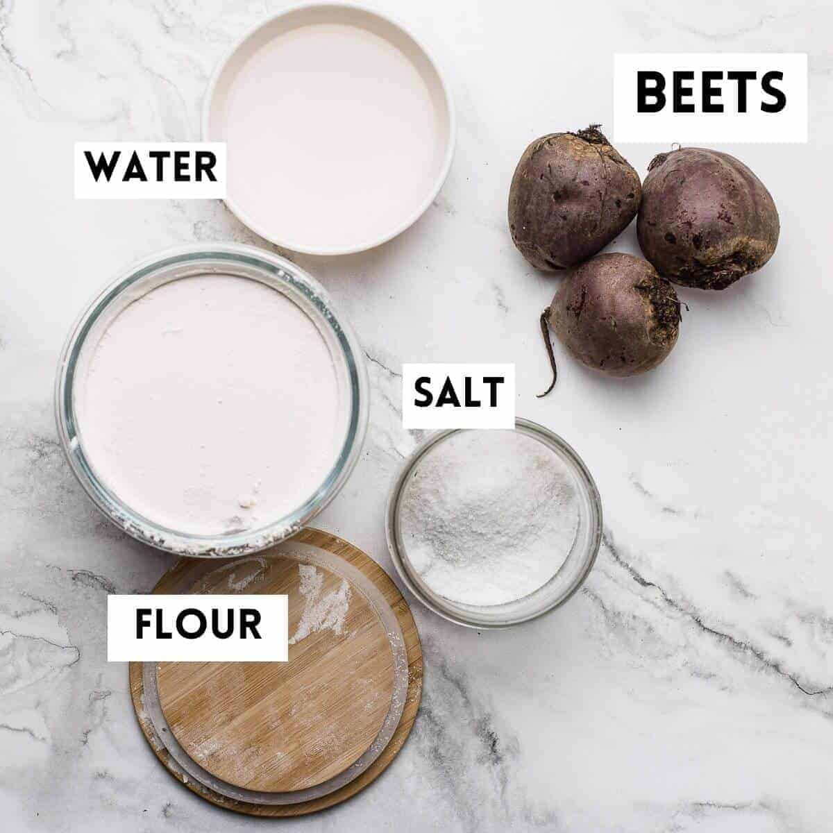 ingredients for making salt roasted beets. water, flour, salt and beets