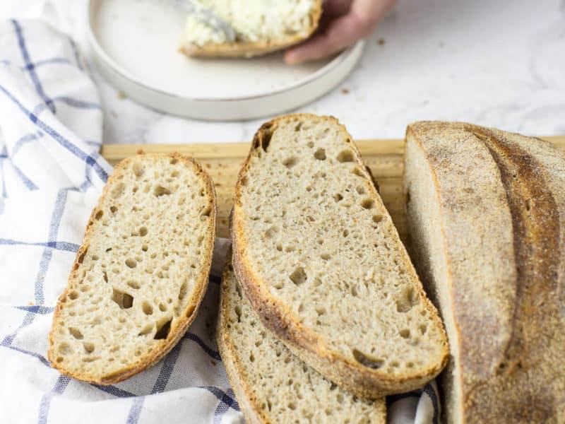 sourdough bread on wooden board