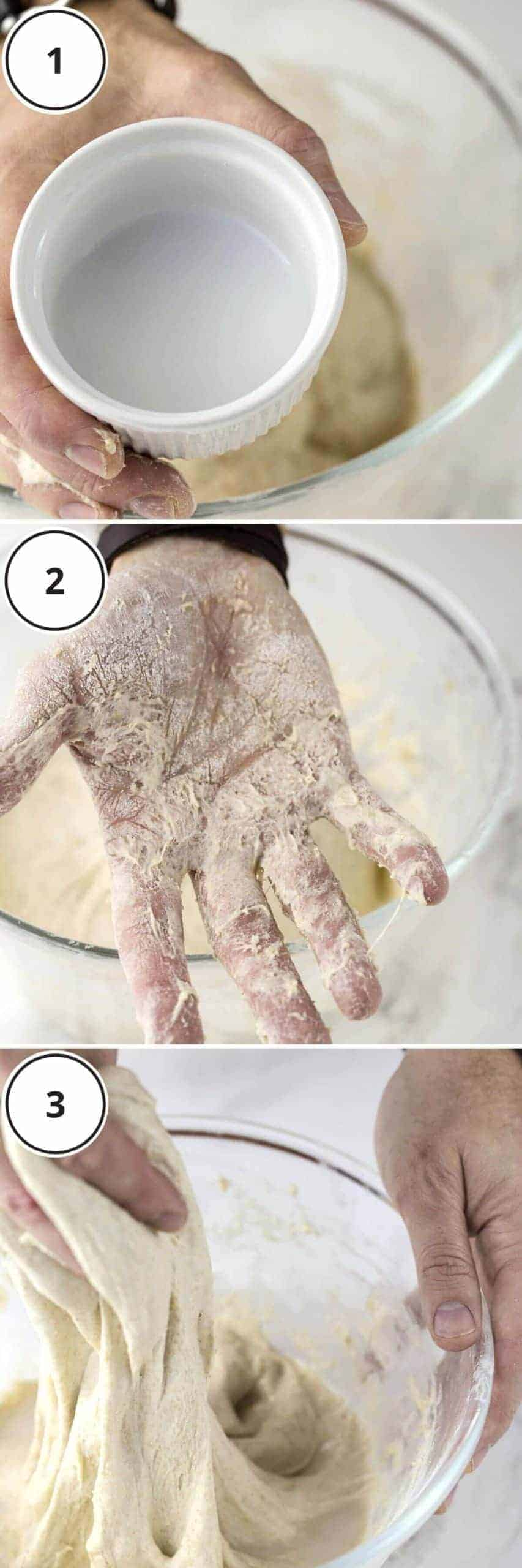 mixing salt into sourdough