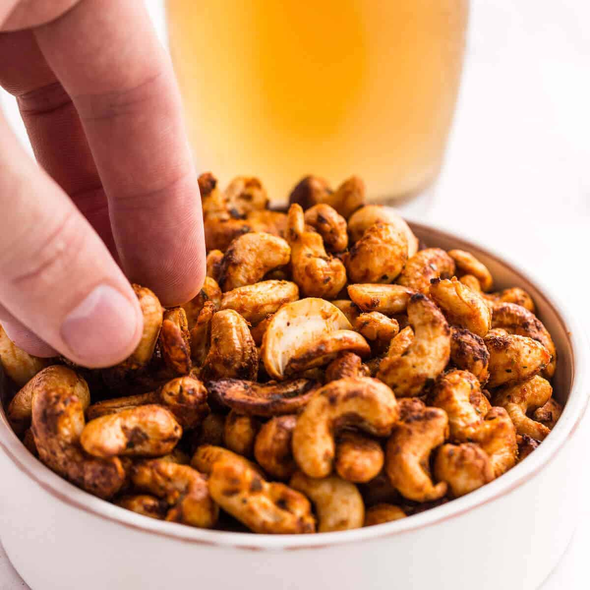 Roasted cashews and beer