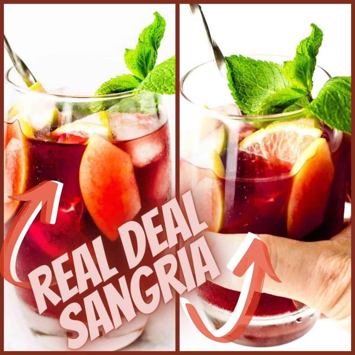 two pictures of sangria in a glass