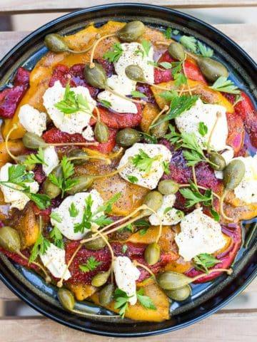 Roasted pepper, mascarpone and caper salad
